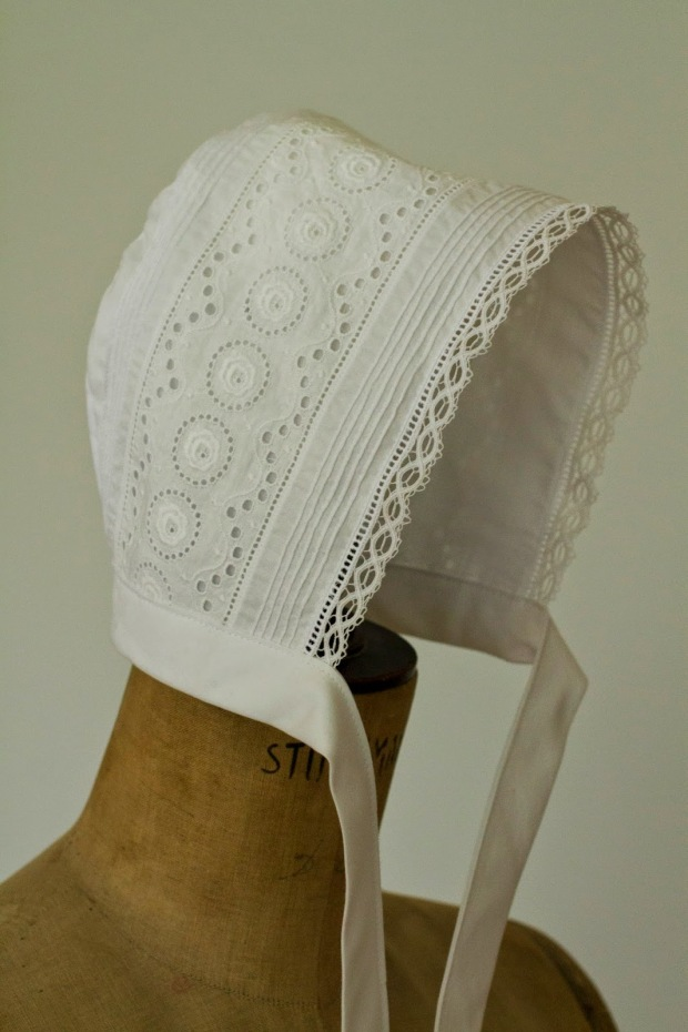 christening bonnet lace insertion heirloom sewing