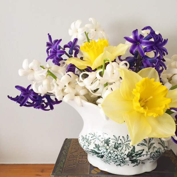spring flower arrangement: homegrown daffodils and hyacinths in vintage gravy boat
