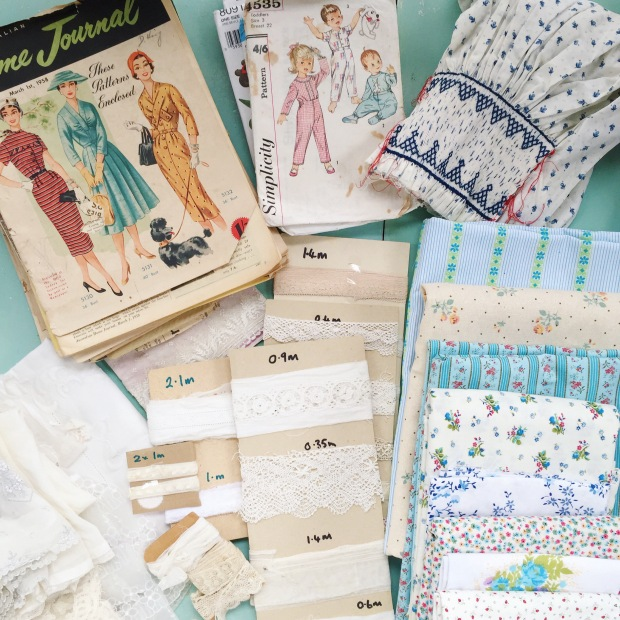 vintage sewing patterns and fabrics