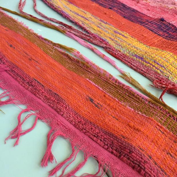 recycled sari woven rug