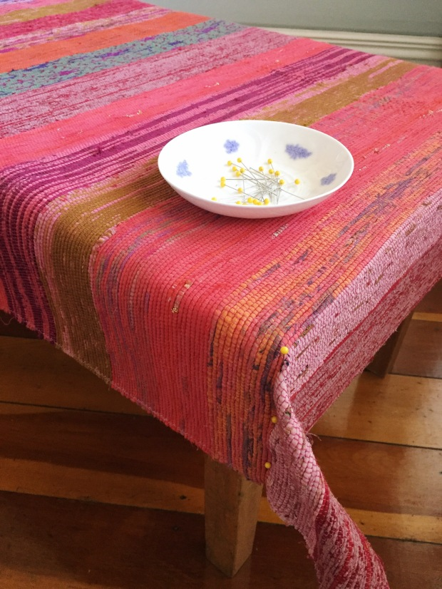 upholstering a coffee table with an recycled sari woven rug