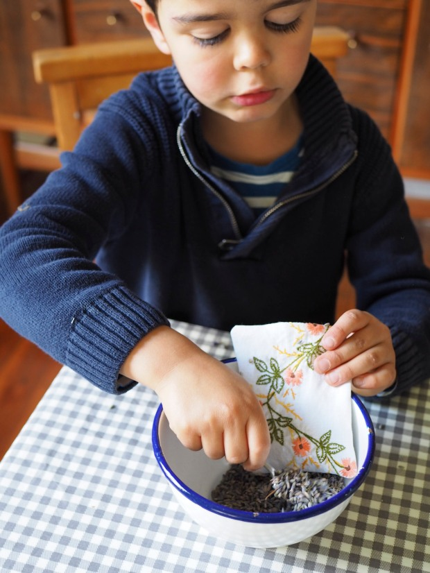 making lavender bags with kids