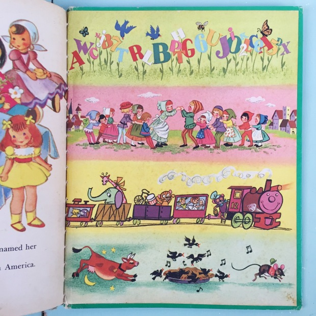 vintage children's book about dolls